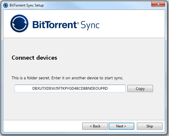 "Secret code to be used on all devices in the ""torrent"" network"